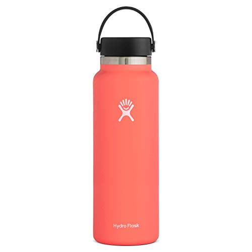 Hydro Flask Water Bottle - Stainless Steel & Vacuum Insulated - Wide Mouth 2.0 with Leak Proof Flex Cap - 40 oz, Hibiscus