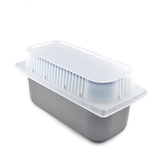 25 bandejas de helado de 5 litros de color gris (burdeos) para helado, medidas 360 x 165 x 120 mm de altura, con tapa alta transparente, bandeja para llevar helados y alimentos