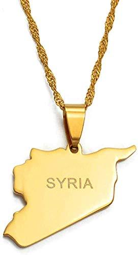 banbeitaotao Collar Mapa de Siria Collares Colgantes con dijes de Color Dorado Collares Joyería Siria Collar de Oriente Medio