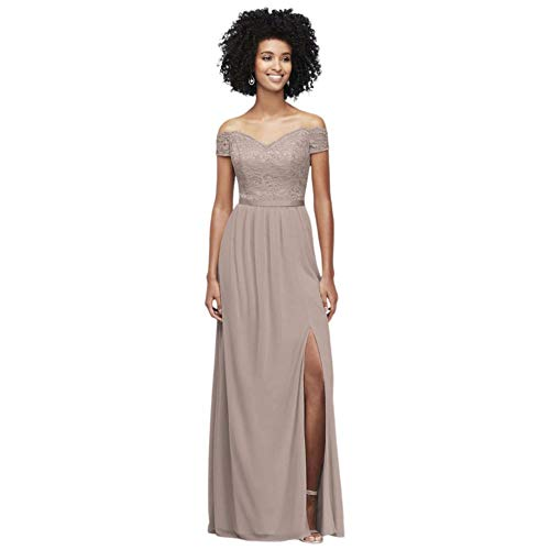 Off-The-Shoulder Lace and Mesh Bridesmaid Dress Style F19950, Petal, 2