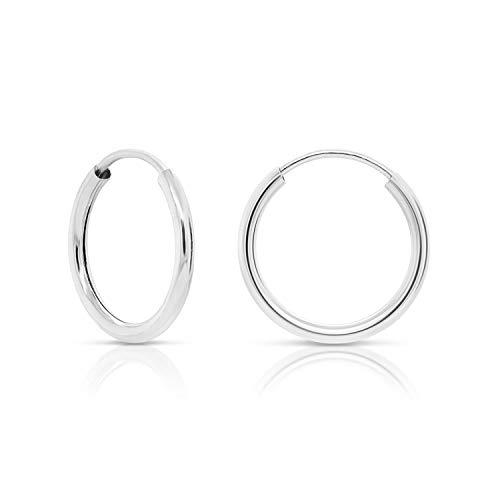 14k White Gold Round Endless Hoop Earrings - 10-18mm (10mm)