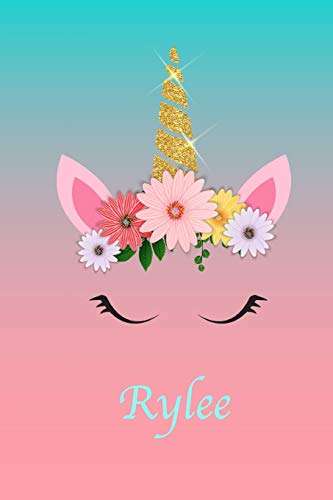 Rylee: Personalized Gift Unicorn Faux Gold (Print) Ombré Effect Blue Pink Softcover Lined Notebook Journal 6''x9'' (Ombré Unicorn Notebooks)