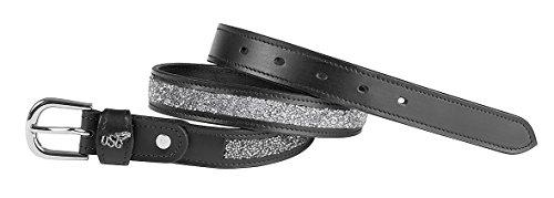 USG Ledergürtel 'Mosaik'', schwarz, silberf. Schnalle, silberfarben, 90 cm