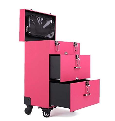 CS-Kosmetikkoffer Pink Trolley, Professionell Schminkkoffer, Visagisten Friseurkoffer