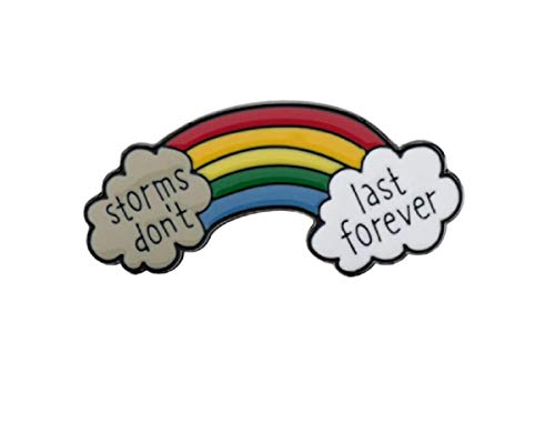 FTT Crazy Cool Brain & Mental Health PINS for a BCSW,Psychologist,Neuro RN or MD.Superior Quality (Gorgeous Rainbow & Clouds Mental Health COVID -19 Enamel 1.2' Pin -Storms Don't Last Forever)