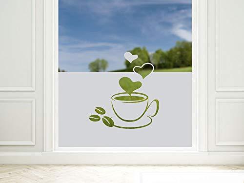 GRAZDesign Sichtschutzfolie Küche Kaffee-Tasse mit Herze, blickdichte Glasdekorfolie, Matte Fensterfolie als Sichtschutz / 100x57cm