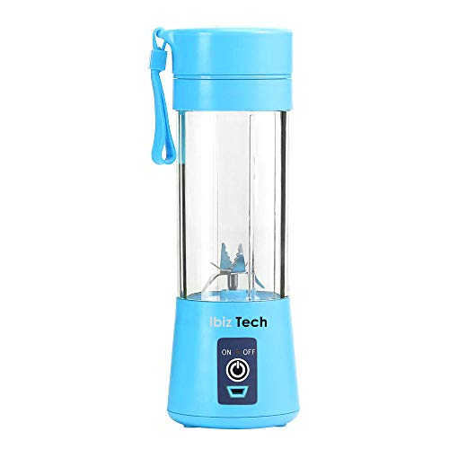 Portable Blender, IBIZ TECH the best tecnology Smoothie Juicer Cup - Six Blades in 3D, 13oz Fruit Mixing Machine with 2000mAh USB Rechargeable Batteries, Ice Tray, Detachable Cup, Perfect Blender for Personal Use (FDA, BPA Free) Blue