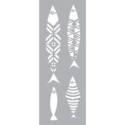 GRAINE CREATIVE 226178 Pochoir Décor 15 x 40 Poissons, Plastique, Gris, 15,5 x 0,1 x 47,5 cm