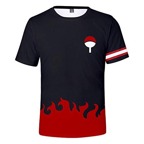 TSHIMEN t-Shirt männer Basic Naruto Japanische Comicfiguren 3D digitaler Farbdruck Männer und Frauen mit kurzen Ärmeln schwarz s