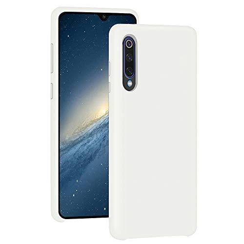 Funda para Xiaomi Mi 9/Mi 9 SE Teléfono Móvil Silicona Liquida Bumper Case y Flexible Scratchproof Ultra Slim Anti-Rasguño Protectora Caso (White, Xiaomi Mi 9 SE)