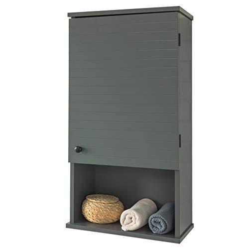 SoBuy BZR25-DG Hängeschrank mit Einer Tür und einem Fach Wandschrank Badhängeschrank Küchenschrank Medizinschrank Badmöbel dunkelgrau BHT ca: 40x76x21cm