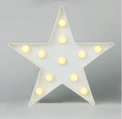 Yhhzw 3D Led Star Night Light Marquee Pentagram Lamp 3W Warm White Light White Birthday Wedding Party Wall Hanging Decor
