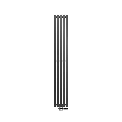 ECD Germany Stella Diseño Panel Radiador Conexión Central 260 x 1800 mm Antracita con Juego de conexión Incluido termostato Piso de Paso Plano de una Sola Capa Vertical Calefacción