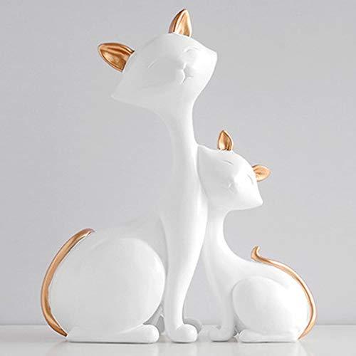 NYKK Ornamento de Escritorio La Madre y el niño Gato Adornos de Resina Crafts Escritorio decoración del hogar artesanías decoración (Color : White)
