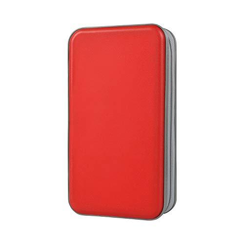 CD Tasche, Alachi EU 96 CD/DVD Tasche Hartplastik CD Taschen Aufbewahrung Schutzhülle DVD Lagerung CD Tasche für Kinder Auto (96 Kapazität, Rot)