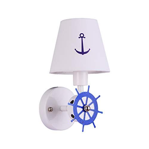 JLXW Wandlamp voor kinderen en 14 stopcontacten, mediterrane stijl met lampenkap van stof, creatieve wandlamp voor nachtkastje
