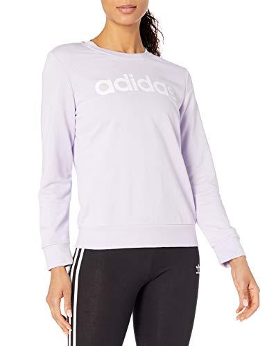 adidas Essentials Linear - Felpa con Cappuccio a Girocollo da Donna, Colore: Viola/Bianco, XL