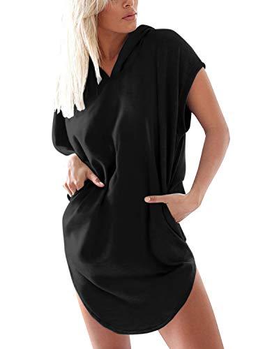 Auxo Sudadera Mujer Capucha Verano Manga Corta Camiseta Talla Grande Blusa Larga Moda W-Negro L