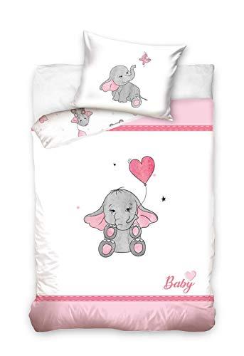 Kinderbettwäsche Bettwäsche 100x135 + 40x60 Elefant Rosa Babybettwäsche 100% Baumwolle