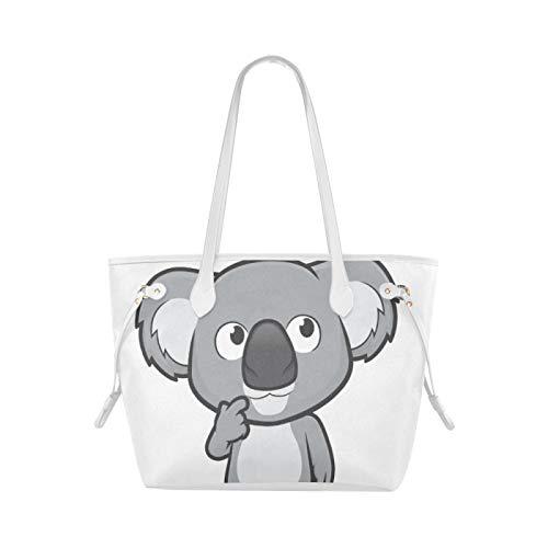 WHIOFE College Tote Bag Outgoing Lively Kawaii Happy Koala Totes Bag Bolsa de transporte de gran capacidad Resistente al agua con asa duradera