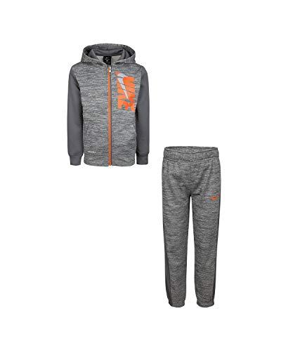 Nike Jungen Dry Fit Therma Zip Hoodie & Sweatpants 2-teiliges Set (Carbon Heather(86G933-GEH)/Orange, 6 kleine Kinder)