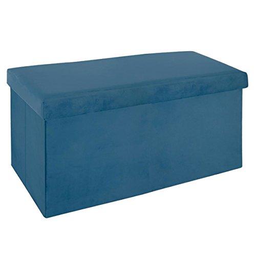 PEGANE Pouf Pliant Double Bleu foncé en Velours - L. 76,6 x l. 38 x H. 37,5 cm