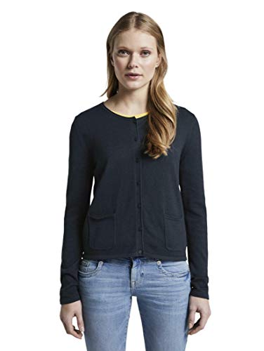 TOM TAILOR Damen Pullover & Strickjacken Schlichter Cardigan Sky Captain Blue,L