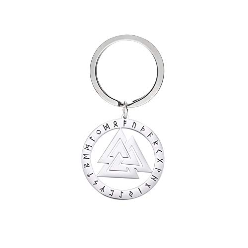 cooltime Stainless Steel Keychain Viking Celtic Symbol Trinity with Runes Pendant Keyring Unisex Jewelry (Valknut)