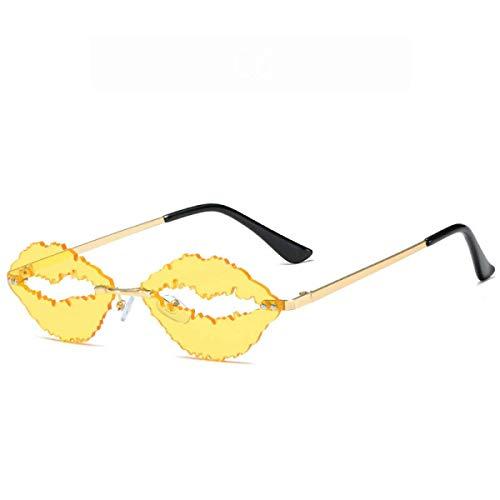 Gafas Geniales, Gafas De Sol Sin Montura De Labios Sensuales Y De Moda, Gafas De Sol De Graduación Con Protección Uv400, Anti-Ultravioleta Y Antirreflejo (6 Colores) Unisex