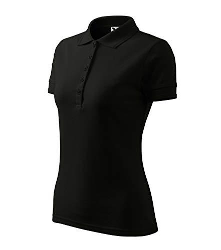 Poloshirt Polohemd für Damen Pique Polo von Adler (M, schwarz)