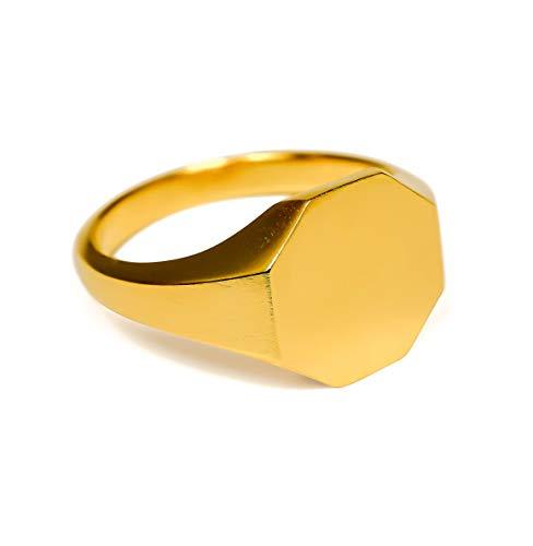 Sprezzi Fashion Goldener Siegelring Herren aus massivem 925 Sterling Silber 18k Echtgold vergoldet matt für Gravur |minimalistischer Männerring Schmuck aus Deutschland (Gold eckig, 60 (ø19.1mm))