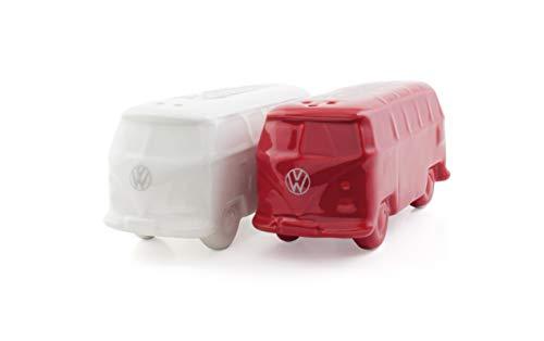 BRISA VW Collection - Volkswagen T1 Bulli Bus Salz- & Pfeffer-Streuer, Küchen-Tisch-Dekoration, VW-Fan-Geschenk-Idee (2ER Set/Rot/Weiß)