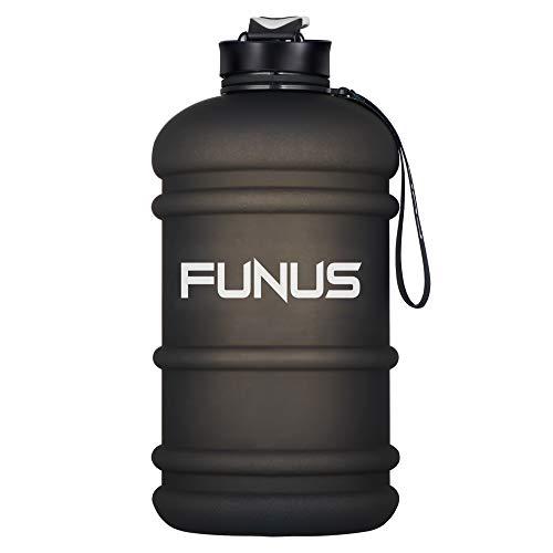 FUNUS Big Water Bottle 2.2L Odorless Water Jug BPA Free Hydro Jug Leak Proof Reusable Big Capacity for Men Women Fitness Gym Outdoor Climbing - 75oz (2.2L Frosted Black)