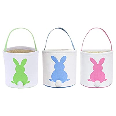 Easter Egg Hunt Basket for Kids Bunny Canvas Tote - Party's Celebrate Decoration Eggs Candy and Gifts Carry Bucket (Green+Blue+Pink)
