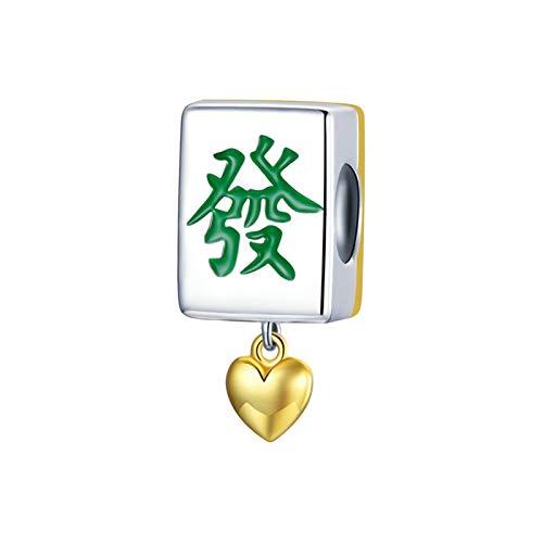 GaLon Charms baumeln Perlen, S925 Sterling Silber echte vergoldete Mahjong Fliesen DIY handgefertigte 2021 Transferperlen machen einen Glücksanhänger für Pandora Troll Chamilia Charme Armband Halskett