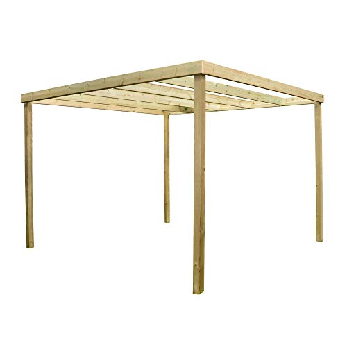 Rutland County Garden Furniture *B GRADE* Box Pergola - Available In Different Sizes & In Either Rustic Brown or Light Green. (3m x 3m, Light Green)