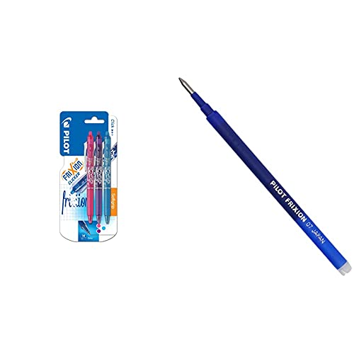 Pilot FriXion Clicker Bolígrafo roller de gel de tinta borrable (3 unidades), color rosa, morado y azul + Pilot BLS-FR7-L-S3 Recambio Frixion, color azul, paquete de 3 unidades