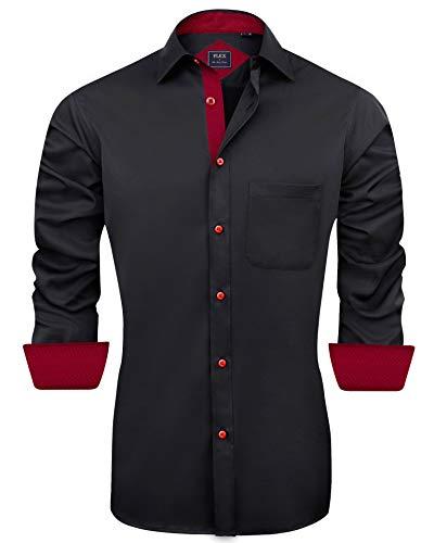 J.Ver Herren Hemd Regular Fit Langarm Herrenhemden Freizeithemd Regular Businesshemd elastiscer Musterhemd, A-schwarz, XXL
