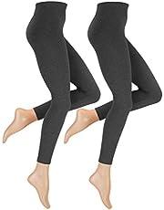 Damer sömlösa termoleggings med varm innerfleece i 2-pack, vinter termisk leggings i svart eller antracit melerad