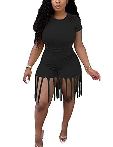 Pantalones cortos de dos piezas para mujer, talla grande, top de cultivos y pantalones cortos de cintura alta con dobladillo de flecos