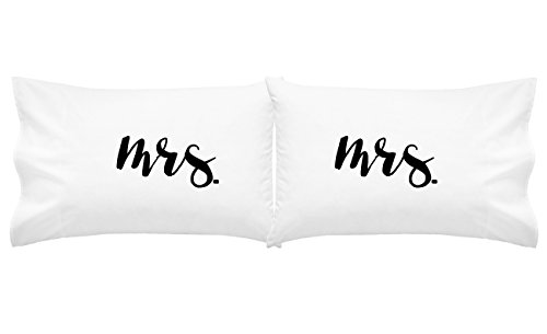 Oh, Susannah MRS MRS Lesbian Engagement Couples Pillowcase - (2 20x30 inch Standard/Queen Size, Black) Gay Pillow Case, Valentines Gift