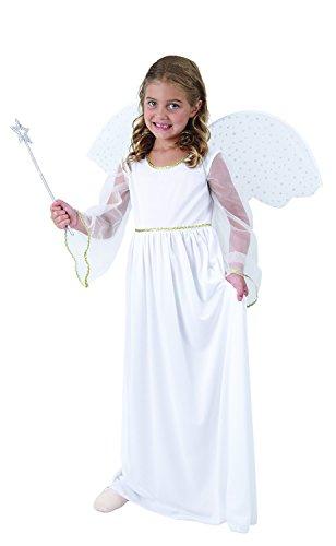 Magi Coo Navidad Ángel Disfraz con alas–Ángel Disfraz Niños de tamaño 110hasta 140–Disfraz de ángel Chica