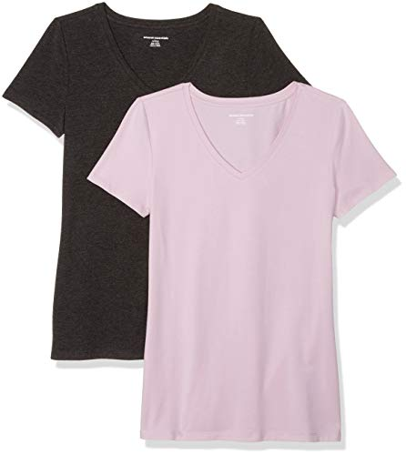 Amazon Essentials Women's 2-Pack Classic-Fit Short-Sleeve V-Neck T-Shirt, Light Purple/Charcoal Heather, Large