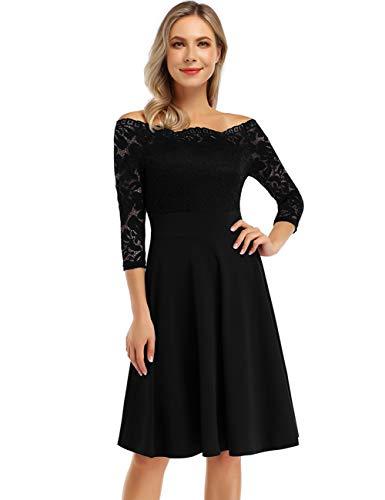 KOJOOIN Damen 1950er Vintage Brautjungfernkleider für Hochzeit Kurzes A-Linie Abendkleider, Schwarz (Off Schulter)-langarm, Gr.- XL/46