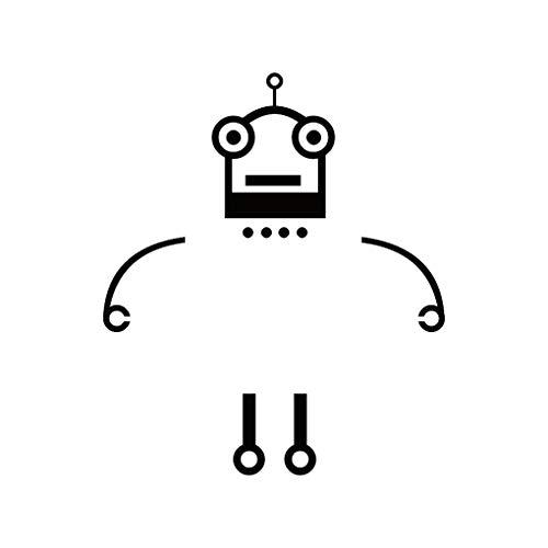censhaorme Interruptor Robot de dibujos animados etiqueta de la pared del papel pintado Adhesivo PVC dormitorio TV del fondo del sofá Calcomanías desprendible de DIY