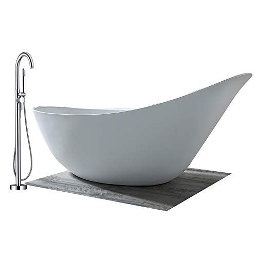 Vrijstaande badkuip in sanitair acryl SOPHIE glanzend wit - 190 x 80 x 82,80 cm - kraan optioneel, Sifon voor vrijstaand bad:Zonder Sifon, Mixer mengkraan:Incl. Standaard fitting NT3127