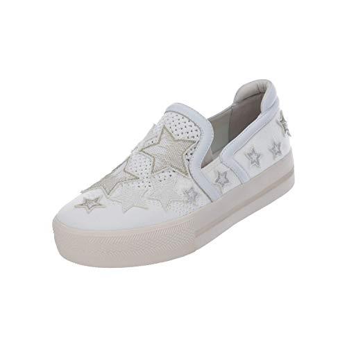 ASH JEDAY BIS S Damen Flache Halb-Schuhe Ballerinas Slip-ons weiß NEU Sale OVP, Größe:EUR 37 (UK 4) (37)
