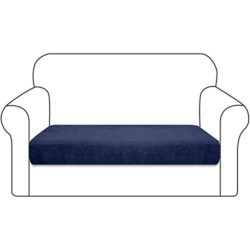 Luxurlife 1 Piece Stretch Velvet Plush Seat Cushion Cover Ultra Soft Seat Couch Cover for Chair Loveseat Sofa with Elastic Band Non Slip Furniture Protector for Pets and Kids(2 Seater,Navy Blue)
