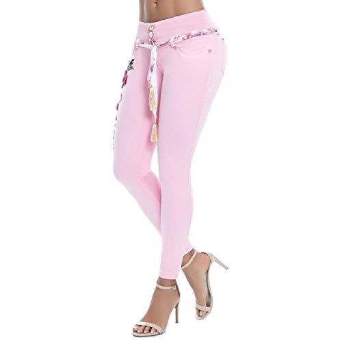 N\P Mujer Floral Bordado Cintura Alta Jeans Skinny Denim Pantalones Largos Denim/Poliéster/Spandex Jeans de las Mujeres