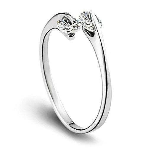 Esberry Anello placcato oro 14 K AAA+ con brillante zircone cubico doppio diamante, anello alla moda per ragazze e donne